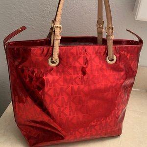 Michael Kors Metallic Red Tote Bag